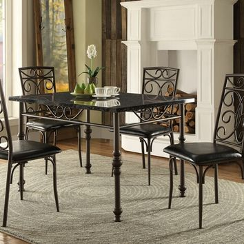 5 pc dryden collection faux marble top dining table set with upholstered seats