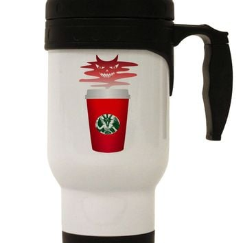 Red Cup Satan Coffee Stainless Steel 14oz Travel Mug by TooLoud