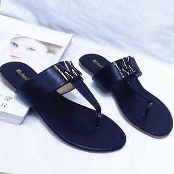 "Hot Sale ""MICHAEL KORS"" MK Popular Women Beach Home Flat Sandal Slipper Shoes(3-Color) Black I12594-1"