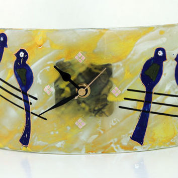 Contemporary Fused glass Desk clock, blu birds ornaments