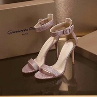 Gianvito Rossi Genuine Leather Sandals Shoes Stiletto 100mm Casual Women Shoe