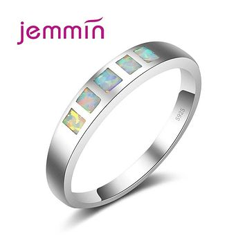 Jemmin Rainbow Stone Ring Blue Fire Opal Rings for Women Engagement Wedding Ring 925 Sterling Silver Fine Jewelry