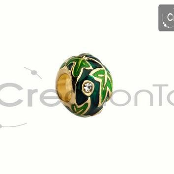 Charm for any Pandora bracelet Green leaf metal enamel bead gold