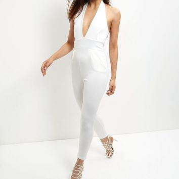 Blue Vanilla Cream Halter Neck Jumpsuit