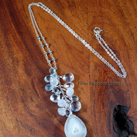 Sparkling Solar Quartz, White Topaz, Moonstone and Aquamarine Faceted Briolette Long Cluster Necklace with Labradorite Sterling Silver