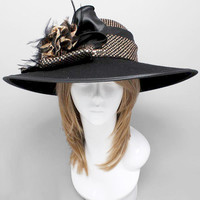 New Black Brown Dottted Kentucky Derby Church Wedding Wide Brim Wave Dress Hat