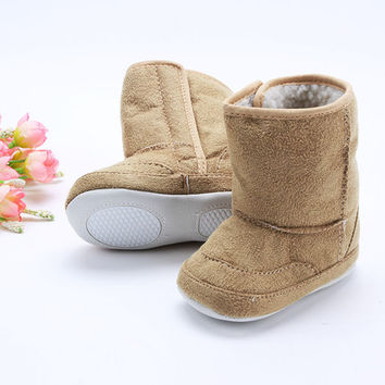 Super Warm Winter Baby Ankle Snow Boots Infant Shoes Pink Khaki Antiskid Keep Warm Baby Shoes First Walkers
