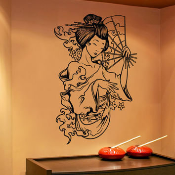Vinyl Wall Decal Sticker Water Geisha With Fan #1503