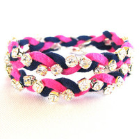 Arm Candy, Wrap Bracelet, Rhinestone Bracelet, Suede Leather, Hot Pink, Navy Blue