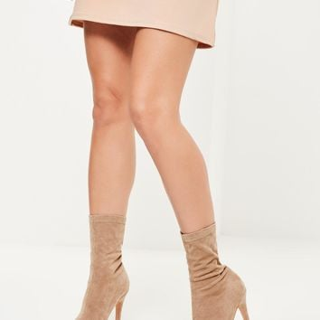 Missguided - Nude Faux Suede Peep Toe Platform Boots