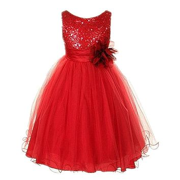 Vogue Toddler Baby Girl Princess Dress Sleeveless Sequin Flower Tulle Tutu Dress