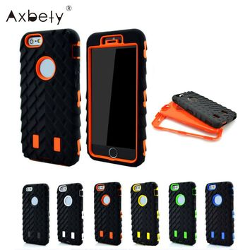 Axbety Full Edge Protect Case For iPhone 5S Case Tire Dual Layer Shockproof Case For iphone 5 SE Silicone + Plastic Armor Cover