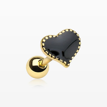 Golden Black Heart Cartilage Tragus Earring