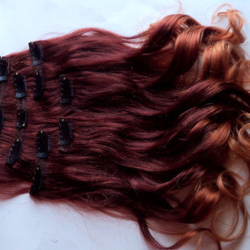 Ombre Red Auburn to Gold Blonde Clip Fade Clip in Human Hair Extensions Full Set Double Layered