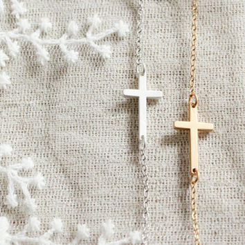 dainty matte gold/sliver  sideways cross necklace -morden minimalist  jewelry  by xuanqi