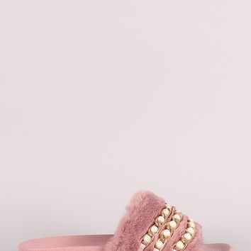Qupid Faux Pearl Chain Embellished Fur Slide Sandal