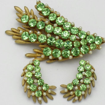 Vintage Designer Signed BSK  Brooch Earrings SET Peridot Rhinestone Seed Pearls