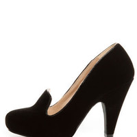 Qupid Nadine 65 Black Velvet Smoking Slipper High Heels - $34.00