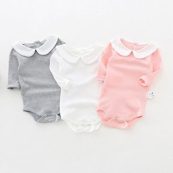 Cute Newborn Baby Girl Clothing Long Sleeve Cotton Solid Baby Bodysuits Peter Pan Collar Girls Jumpsuit Clothes Infant Costumes