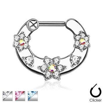 Flower CZ Septum Clicker