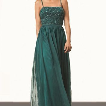 JS Collections - 863098 Beaded Spaghetti Strap Empire Mesh Dress