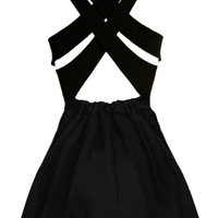 Double Crossed Dress | Little Black Skater Bandage Dresses | Rickety Rack