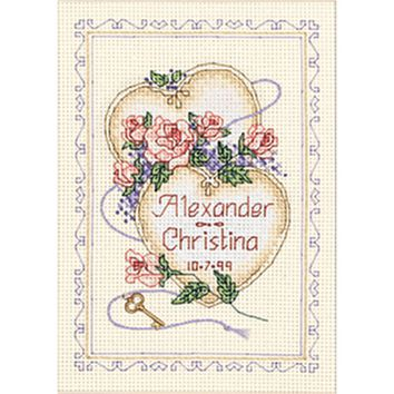 """United Hearts Wedding Record Mini Counted Cross Stitch Kit-5""""X7"""" 14 Count"""