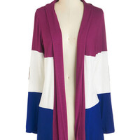 Colorblocking Long Long Sleeve Patch My Drift? Cardigan in Berry
