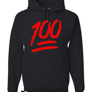 Adult 100 One Hundred Emoji Emoticon Sweatshirt Hoodie