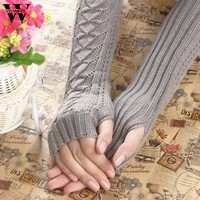 Amazig Long Mitten Gloves Women Knitted Arm Fingerless Winter Gloves Solid Color FunS29