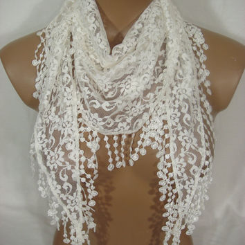 Women Lace Scarf-Ivory...Grand Opening Sale....Everything is 9.99USD