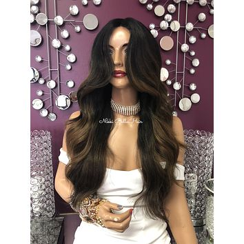 Balayage Highlights Layered Long Silky Hair Swiss Lace Front Wig 22"