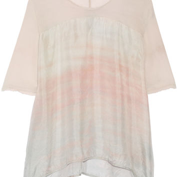 Raquel Allegra - Chiffon-paneled tie-dyed silk top