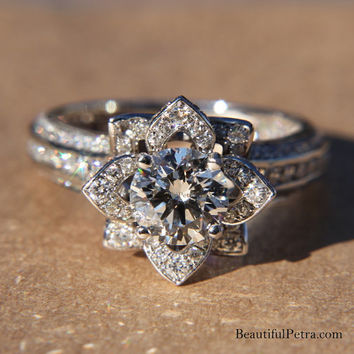 Platinum Setting - UNIQUE Flower  Lotus Rose Diamond Engagement or Right Hand Semi mount Ring Setting - 1.50 carats - fL01