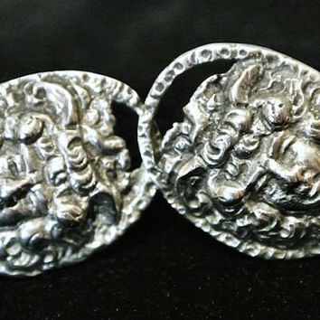 Antique Earrings Victorian Art Nouveau European 800 Repousse 1800's Screw Back Earrings Female Face German Italian Estate Heirloom Jewelry