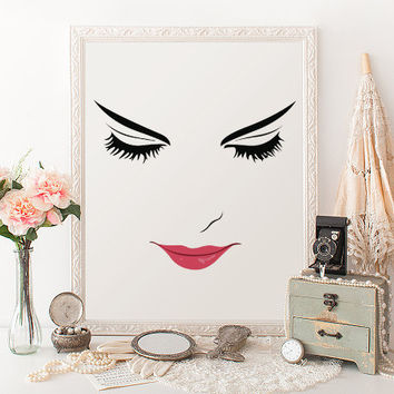 Pink Lips Makeup Print Bathroom Wall Art Lashes Art Bathroom Wall Decor Gift For Her Art MAKEUP DIGITAL ART Wake Up And Makeup Lips Lashes