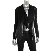 MICHAEL Michael Kors Womens Faux Leather Panel Open-Front Blazer
