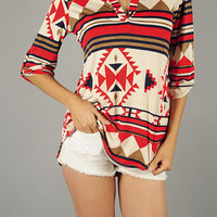 Red & Navy Blouse with Tribal Print