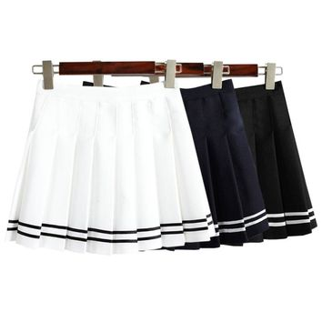 Drop ship high waist ball Denim pleated skirts Harajuku Lolita stripe a-line sailor skirt Cosplay Japanese school Skirts uniform