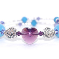 Purple Swarovski heart crystal and turquoise crystal pearl bead memory wire bracelet, Silver plated bead, Wrap bangle, Blue lace agate stone