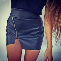 Irregular High Waist Zipper Slim Skirt B005110