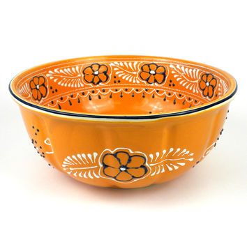 Mexican Ceramic Pottery Large Bowl - Mango - encantada