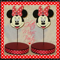GlitterMagicParty - Minnie Mouse - Lollipops or Cakepops Stands - Minnie Mouse Party Decoration - Red Minnie Mouse - SET OF 2 STANDS