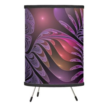 Colorful Fantasy Abstract Modern Purple Fractal Tripod Lamp
