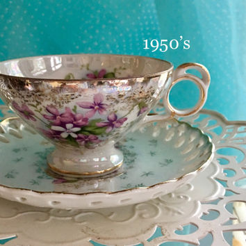 Antique Tea Cup, Japanese Lustreware, Purple Violets, Footed Tea Cup Set, Hand Painted, Pierced, Reticulated China, Gift for Bride