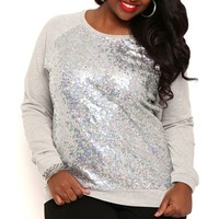 Plus Size Long Sleeve French Terry Top with Sequins
