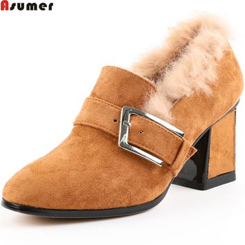 ASUMER 2018 fashion winternew arrive women pumps kid suede ladies shoes square heel buckle high heel shoes big size 33-42