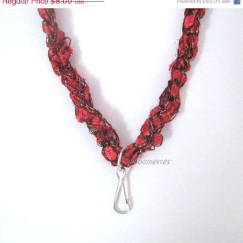 ON SALE Crochet Necklace Lanyard Red ID Badge Name Tag Wrap Bracelet Business Attire Ladder Yarn Necklace