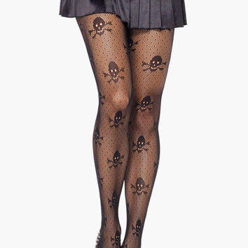 Black Skull Pattern Tights
