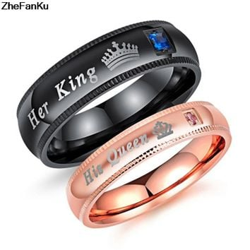 """1Pc """"His Queen"""" and """"Her King"""" Couple rings for lovers"""